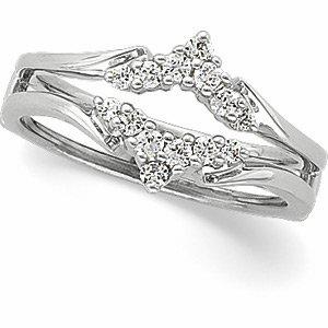 14K White Gold 1/4 ct tw Diamond Ring Guard Size: 13