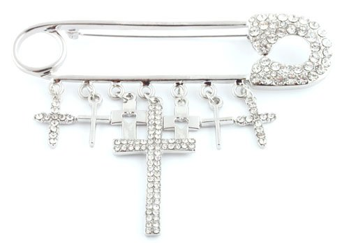 Ladies Silver  Clear Iced Out Safety Pin Style