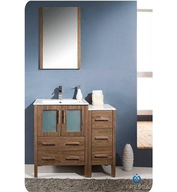 "Fresca 36"" Walnut Brown Bathroom Vanity W/ Side Cabinet, Mirror, & Faucet front-973566"