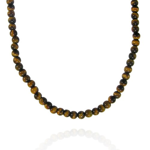 4mm Round Tiger Eye Bead Necklace, 30+2