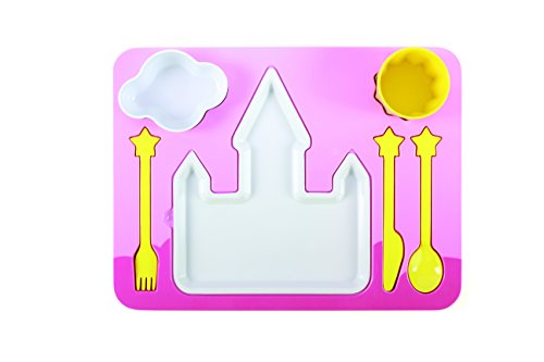 """Princess Castle"" Melamine Kids Dinner 7-piece Set, Plate, Cup, Utensils, Bowl on a Tray - 1"