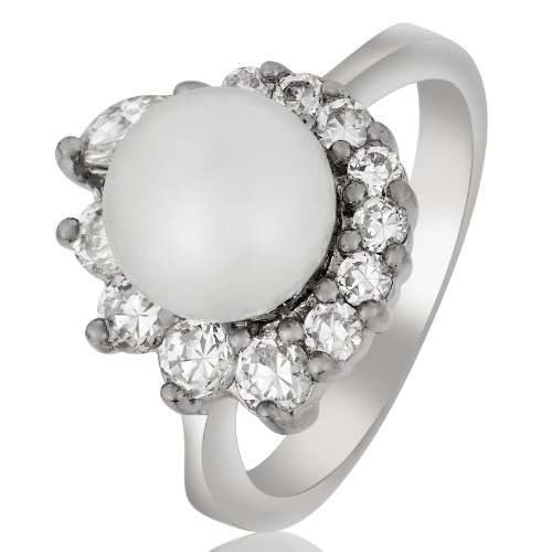 Rizilia Engagement! White Pearl Round Topaz 18K Gold Plated Lady Style Ring Sz 7/O