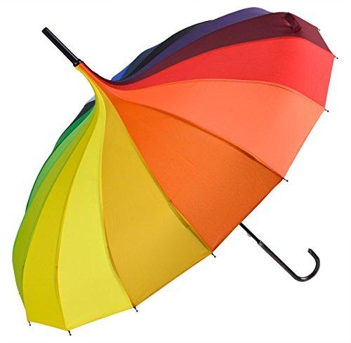 OUTGEEK Rainbow Umbrella Pagoda Long Handle Vintage Windproof Umbrella Parasol 0