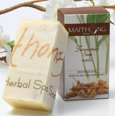 MaiThong Turmeric Herbal Soap Bar for Face and Body, Prevent Acne, Products of Thailand