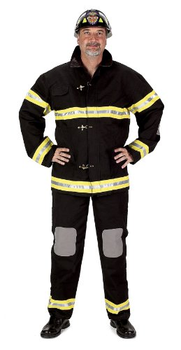 Aeromax Adult Fire Fighter Suit with Helmet, Large, Black