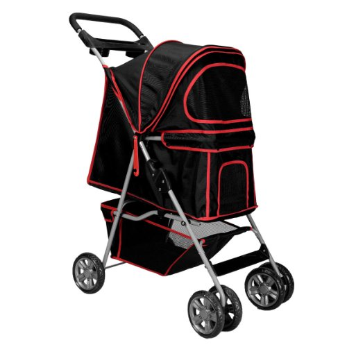Large Deluxe Folding 4 Wheels Pet Gear Dog Cat Carrier Stroller 8 Colors Choice (Black) front-735416