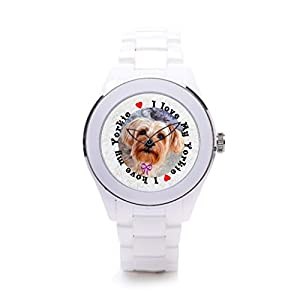 QueensLandMen'sCeramic Case Watch Dog Heart Brand Name Watches Dog