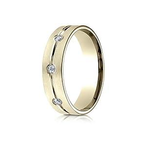 IceCarats Designer Jewelry 14K Yellow Gold 6Mm Comfort-Fit Etched Burnish Set 8-Stone Diamond Eternity Ring (.32Ct) Size 15