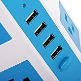 SAFEMORE Smart 8-Outlet with 4-USB Output Power Strip (Blue and White)