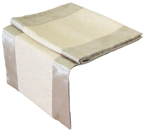 Artiwa Rectangle Silk Decorative Table Runner / Bed Runner Ivory & Cream 14X120 Inch
