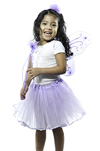 Lavender Princess Costume Set with Wings, Ribbon Lined Tutu, and Butterfly Wand