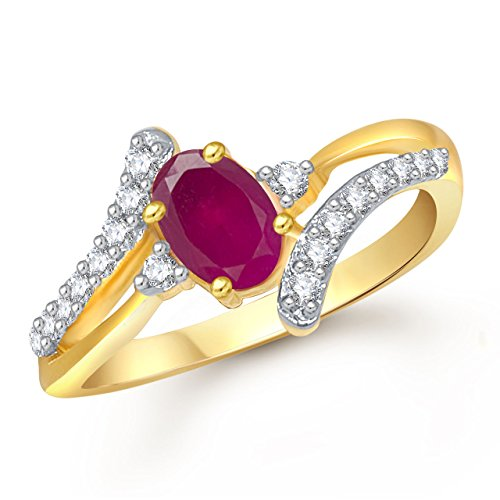 Meenaz Ruby 24K Ring South Indian Traditional Gold Ring For Girls & Women In American Diamond Cubic Zirconia Ring FR408  available at amazon for Rs.245