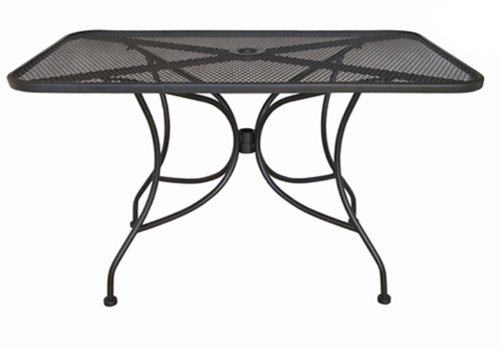 Oak Street Manufacturing OD3048 Rectangular Black Mesh Top Outdoor Table, 48