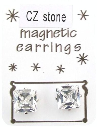 9mm CZ Cubic Zirconia Stone Magnetic Sqaure Fashion Earrings Jewellery
