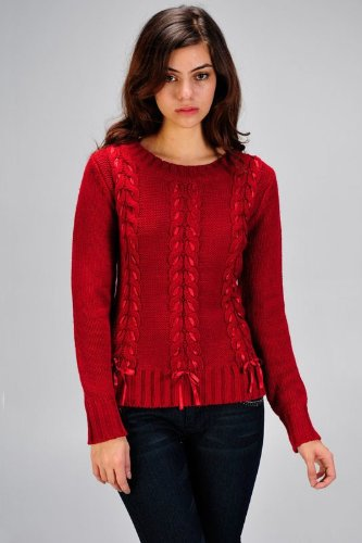 Women's cable knit bodice sweater with ribbon lacing design