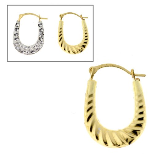 14KT Gold Hoops Crystal W/twist Design
