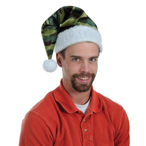 Beistle Men's Company Velvet Camo Santa Hat With Plush Trim Medium Green