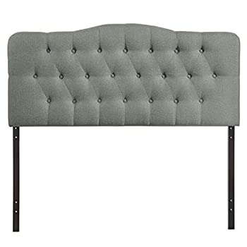 Modway Annabel Queen Upholstered Linen Headboard in Gray