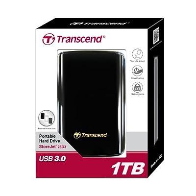 Transcend 1TB StoreJet 25D3 USB 3.0 Portable Hard Drive (Black)