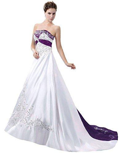 Faironly D229 Women's Wedding Dress Bridal Gown (Large, White Purple)