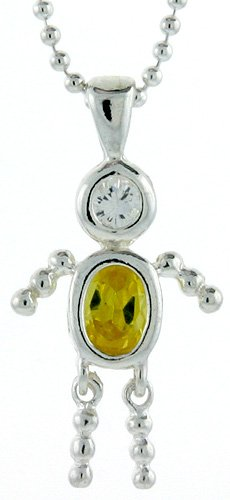 "Sterling Silver Birthstone Baby Brat Boy Pendant for "" November"""