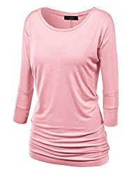 MBJ Womens 3/4 Sleeve Drape Top with Side Shirring