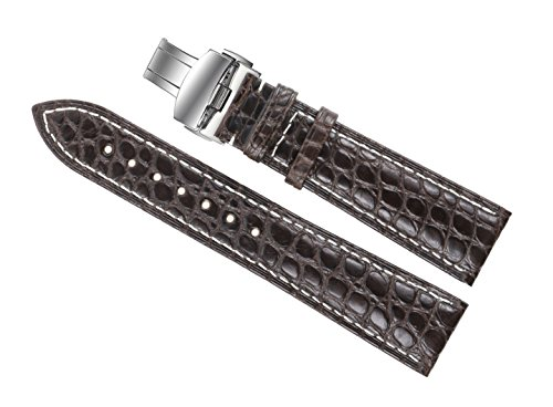 20mm-dark-brown-luxury-alligator-leather-replacement-watch-straps-bands-handmade-with-contrast-white