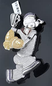 Sexy Unique Exotic Men's Popeye Cartoon Charm .925 Sterling Silver with Multi Color Round Cut Canary Black Onyx White Red Purple Cubic Zirconia Diamonds