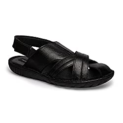 Genuine Leather Black Casual Sandals 014