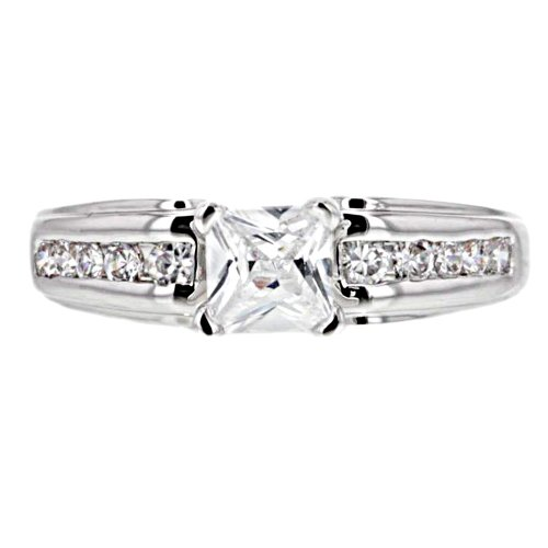 0.75 Carats Princess Cut Cubic Zirconia Platinum Tone Brass Estate Style Engagement Wedding Ring