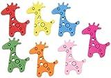 EOZY ボタン 木 ウッド 動物図案 キリン柄 ハンドメイド ビーズ アクセサリー 2つ穴ボタン パーツ 手作り 手芸材料 100g1袋 カラフル 裁縫材料