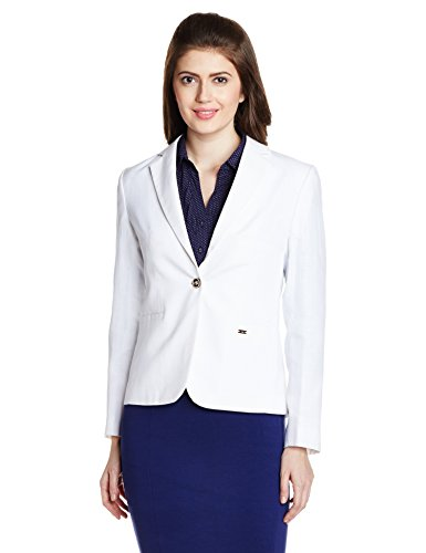 Park Avenue Women's Cotton Solid Blazer (PWJS00285-W1_White_91)
