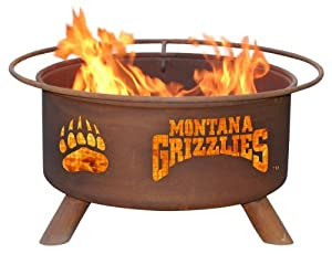 University of Montana Portable Steel Fire Pit Grill by Patina
