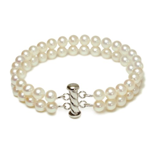 Sterling Silver 2-Strand White A Grade 5.5-6mm Freshwater Cultured Pearl Bracelet, 5.5-6mm , 7.25