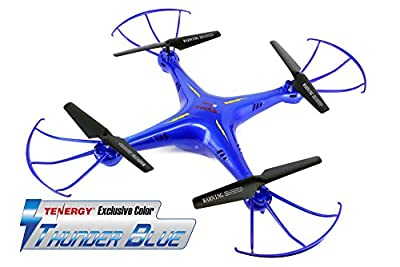 *Tenergy Exclusive* Syma X5SC 2.4G Headless RTF Quadcopter with 2MP 720P HD Camera - Thunder Blue Color Deluxe Package w/ Extra battery (more fly time) & accessories