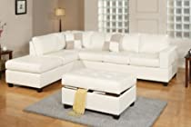 Big Sale Lombardy Sectional sofa in Bonded Leather With Free Ottoman and Pillows (White)