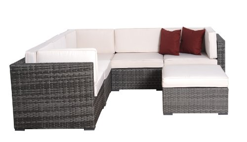 Atlantic PLI BELL6 GR_OW Bellagio Grey Wicker Seating Set with Off-White Cushions, 6-Piece