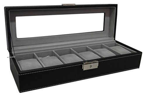 Watch Box 6 Mens Black Leather Display Glass Top Jewelry Case Organizer