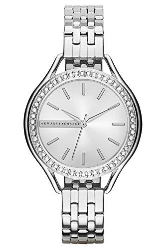 Armani Exchange AX4254 Allete Silver Glitz Dial Steel Bracelet Women Watch NEW