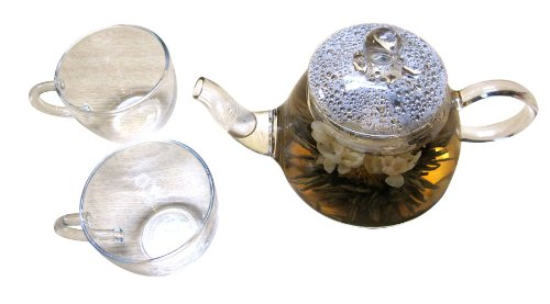 Glass Teapot for Brewing Fresh Flower Tea with Two Cups - Father's Day Sales