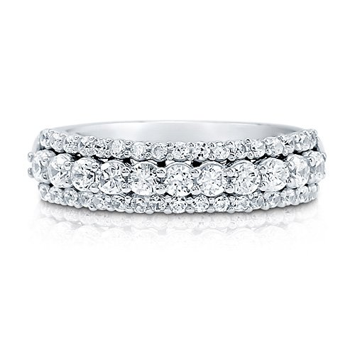 Cubic Zirconia CZ 925 Sterling Silver 3-Row Half Eternity Ring Band - Nickel Free Engagement Wedding Band Ring Size 6
