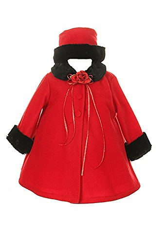 Girl's Cozy Fleece Long Sleeve Cape Jacket Coat - Red Infant L 12-18 Months