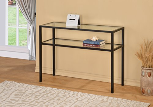 Black Metal Glass Accent Sofa Console Table with Shelf (Console Table With Metal compare prices)