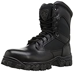 Rocky Men\'s Alpha Force 8 Inch Side Zip Steel Toe Work Boot,Black,11.5 M US