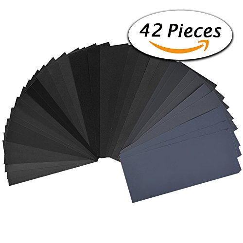 42 Pcs Wet Dry Sandpaper 120 to 3000 Grit Assortment 9 3.6 Inches Abrasive Paper Sheets for Automotive Sanding, Wood Furniture Finishing, Wood Turing Finishing (Wet Pc compare prices)