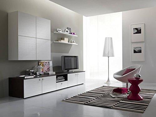 Parete soggiorno completo moderno Trix 01 - Wenghè e Gesso Poro Aperto - Larghezza 300 cm
