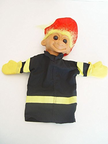 "Fireman Fire Chief Troll Hand Puppet with Yellow Hair 9"" Tall - 1"