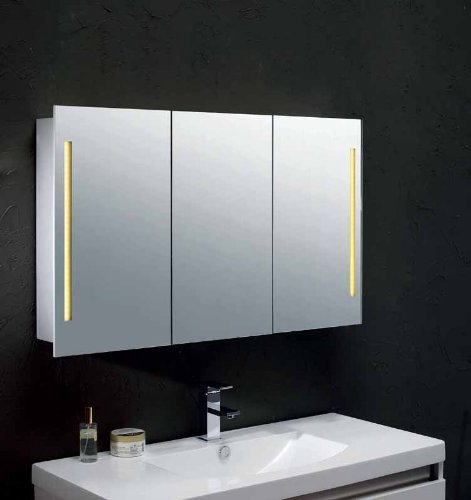 Mebasa mybspkalr1 armario con espejos para ba o efecto - Armario de bano con espejo y luz ...