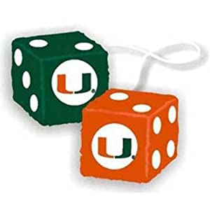 Miami Hurricanes NCAA 3 Car Fuzzy Dice