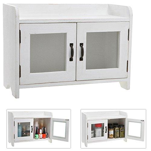 Decorative Shabby Chic White Wood Mini Kitchen Cupboard / Spice Cabinet / Bathroom Storage Cabinet w/ Glass Windows (Cabinet Tabletop compare prices)
